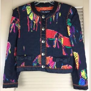 Escada Vintage Silk Jacket Blazer Sz 36 6 Bows